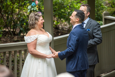 Couple laughing at wedding at Hawkesdene wedding venue in Andrews NC near Asheville