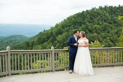 Mountain top wedding photo at Hawkesdene wedding venue in Andrews NC near Asheville