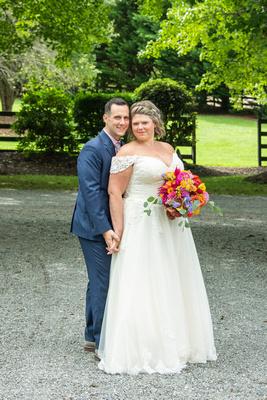 Wedding couple portrait at Hawkesdene wedding venue in Andrews NC near Asheville