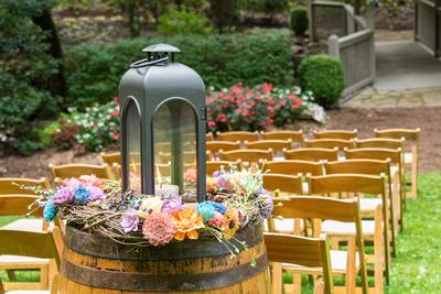 Wedding lantern at ceremony at Hawkesdene wedding venue in Andrews NC near Asheville
