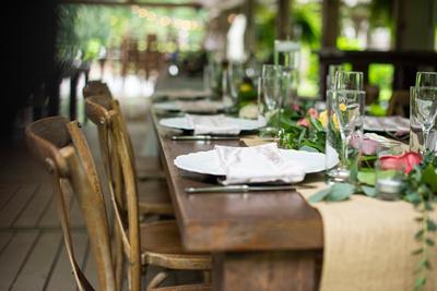Wedding table set at Hawkesdene wedding venue in Andrews NC near Asheville