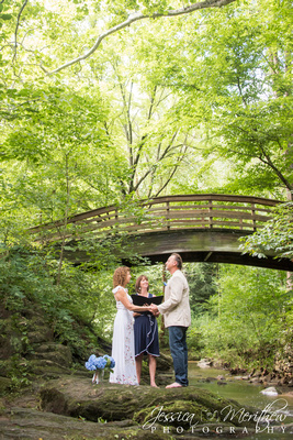 Asheville Botanical Gardens elopement in creek