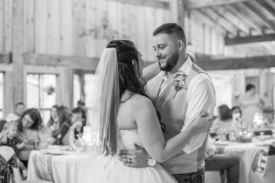 bride and groom first dance at timber hall events