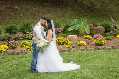 bride and groom portrait in asheville at timber hall events venue