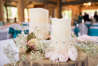 country candle centerpiece at timber hall events in asheville