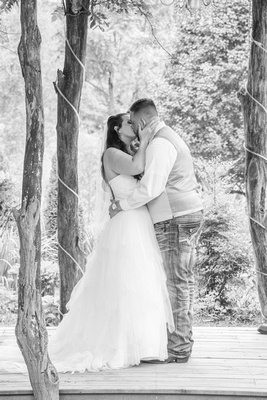 first kiss wedding couple at timber hall events wedding venue