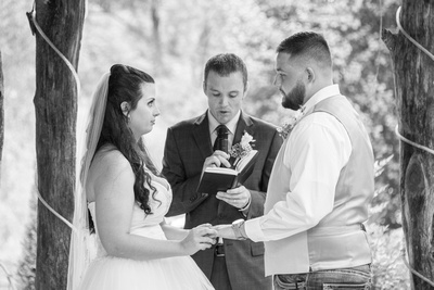wedding ceremony at timber hall events in asheville