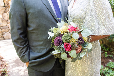 Wooden wedding bouquet at The Omni Grove Park Inn in Asheville NC