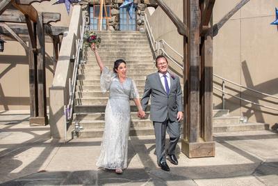 Wedding couple celebrating at The Omni Grove Park Inn in Asheville NC