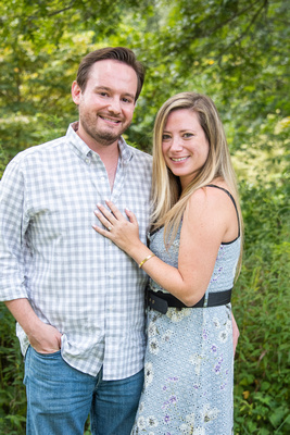 Couples portrait after proposal at The NC Arboretum in Asheville