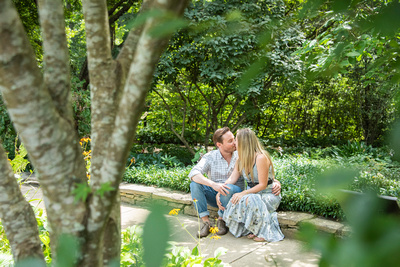 Engagement photography after proposal at The NC Arboretum in Asheville
