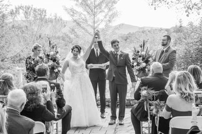 Wedding ceremony celebration at Bull Creek Ranch in Asheville