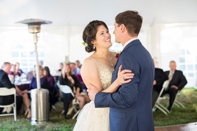 Wedding couple dancing at reception at Bull Creek Ranch