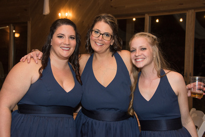 Bridesmaids at reception in Asheville