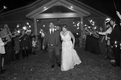 Reflections at the Pond wedding sparkler exit