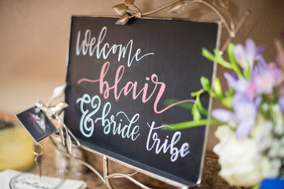 Welcome sign at wedding at Reflections at the Pond