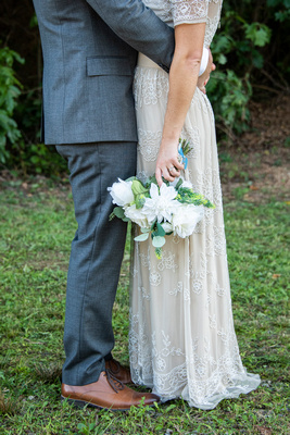 Bride and groom attire at Highland Brewing Wedding in Asheville