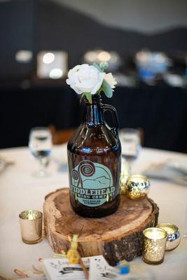 Beer growler centerpiece at Highland Brewing Wedding in Asheville