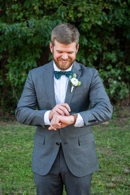 Groom getting ready at Highland Brewing Wedding in Asheville