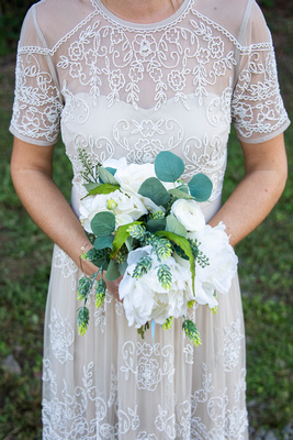 Hops and flowers bouquet at Highland Brewing Wedding in Asheville