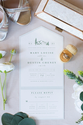 Mountain wedding invitation and wedding details at Highland Brewing Wedding in Asheville
