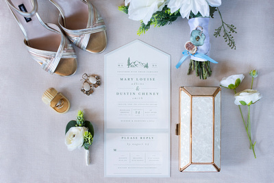 Mountain wedding invitation and bridal details at Highland Brewing Wedding in Asheville
