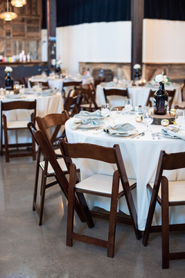 Round table setting at Highland Brewing Wedding in Asheville