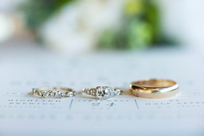 Vintage wedding rings at Highland Brewing Wedding in Asheville