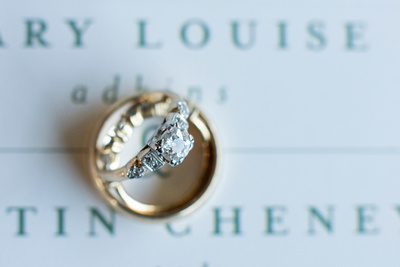 Vintage wedding rings on mountain invitation at Highland Brewing Wedding in Asheville