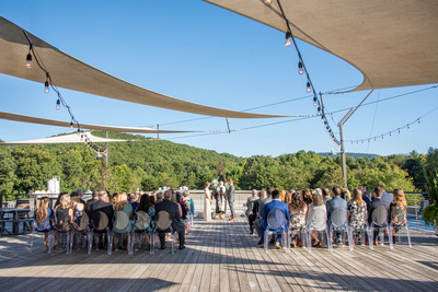 Wedding Ceremony on rooftop at Highland Brewing Wedding in Asheville