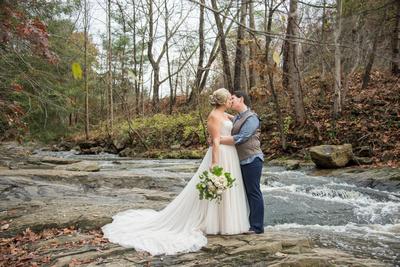 Lesbain wedding portrait in Asheville at Botanical Gardens