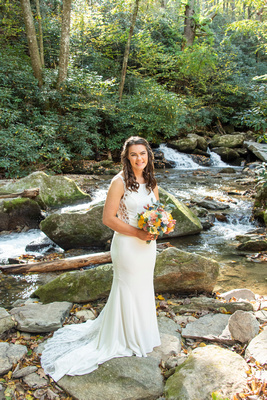 Bridal portrait during fall at Laughing Waters wedding venue near Asheville NC