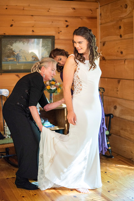 Bride getting ready at Laughing Waters wedding venue near Asheville NC