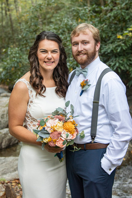 Couples portrait at wedding at Laughing Waters wedding venue near Asheville NC