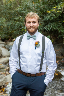 Groom portrait at Laughing Waters wedding venue near Asheville NC