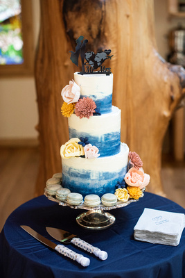 Wedding cake by Layered by Lex at Laughing Waters wedding venue near Asheville NC
