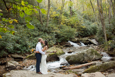 Wedding photo in Hickory Creek at Laughing Waters wedding venue near Asheville NC