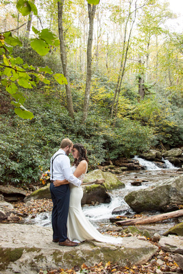 Wedding portrait in Hickory Creek at Laughing Waters wedding venue near Asheville NC