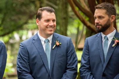 Best man during wedding ceremony at Hawkesdene