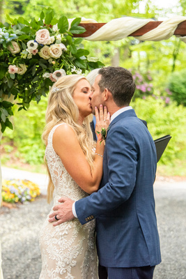 First kiss during ceremony at Hawkesdene