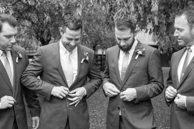 Groom and groomsmen at Hawkesdene in Andrews NC