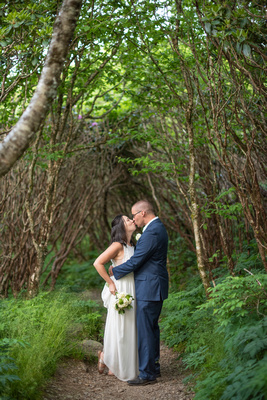 Kissing on the trail at Craggy Gardens in Asheville