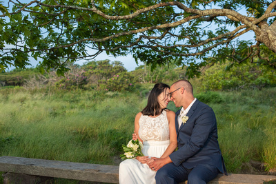 Married couple sitting at Craggy Gardens