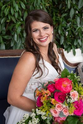 Bride laughing at Haiku I Do in Asheville