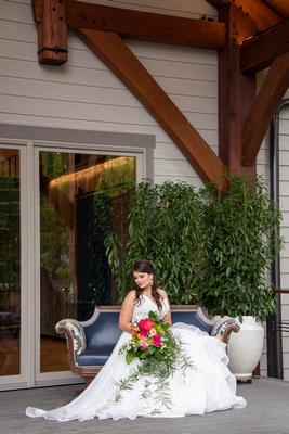 Bride sitting for portrait at Haiku I Do in Asheville