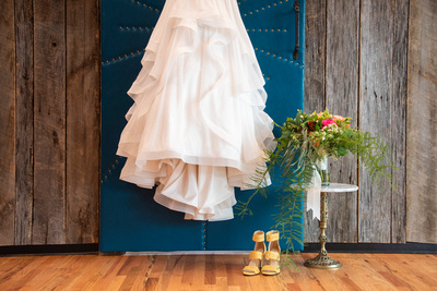 Wedding dress and shoes at Haiku I Do in Asheville