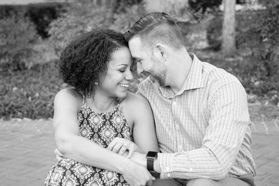 Engaged couple at Clemson in black and white