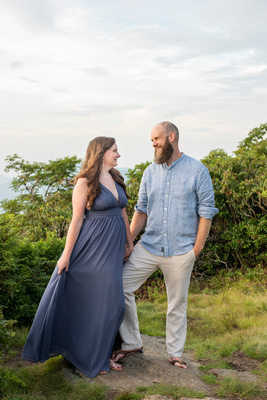 Engaged couple at Craggy Pinnacle for engagement phorography at sunset session