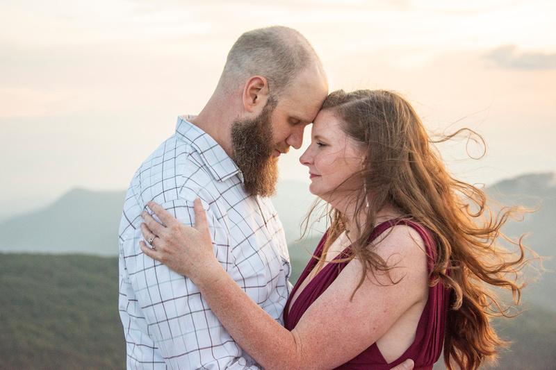 Mountain engagement photos at sunset at Craggy Pinnacle