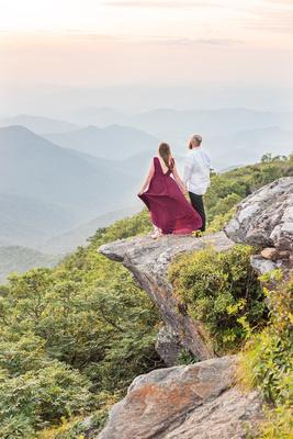 Mountain top sunset engagement photos at Craggy Pinnacle
